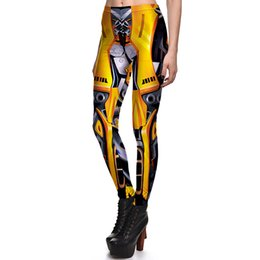 Barato Calças De Mulheres De Ouro-2017 NEW 3831 Mecha Iron Man Golden Camera Cosplay Prints Sexy Girl Pencil Yoga Pants GYM Fitness Workout Polyester Mulheres Leggings Plus Size