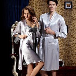 Vêtements De Nuit En Gros Femmes Hommes Pas Cher-Vente en gros- XIFENNI Brand Couple Peignoirs pour hommes Femmes Sexy Satin Silk Long-Sleeved Robe Kimono Lovers Embroidery Sleepwear Lounge