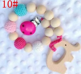 Wholesale 2018 Baby Infant Wood Beads Teether Rings Teether Pacifier Clip Gift Crochet covered beads baby teething