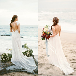 Robe De Mariée De Plage Taille Empire Pas Cher-2017 Sexy Backless Beach Wedding Dresses Flowing Empire Waist Open Back Lace Appliques Chiffon Robes de mariée Bohemian Boho Country Style