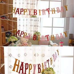 decorations for boy birthday party NZ - Wholesale- Colorful Letter Shining Happy Birthday Flags Bunting Banner Garlands For Kids Boy Girl Baby Birthday Party Home Decoration 2.5 M