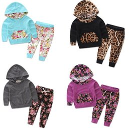 yellow leopard girl clothing 2018 - 2017 Baby Clothing Sets Leopard Floral Boys Girls Toddler Hoodies Pants 2Pcs Set Autumn Cotton Infant Hooded Sweatshirts