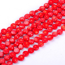 silver round 4mm spacer beads 2020 - 1pack lot 10*10*4mm High quality flat round Red Coral loose spacer beads DIY for bracelet necklace jewelry making discou