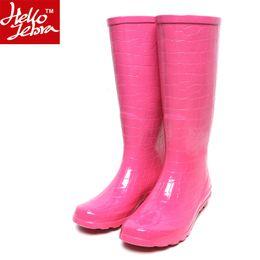 $enCountryForm.capitalKeyWord Canada - Women Rain Boots Fashion Knee high 2016 Pink Crocodile Pattern Rain Shoes Girl Summer Rubber Waterproof Rainboots Ladies Shoes Pink Women