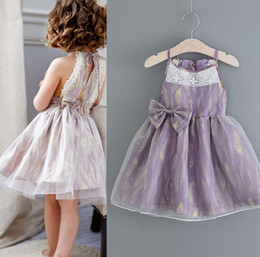 Robe De Robe De Plumes Pas Cher-2017 Europe Fashion Summer Girls Slip Robe Bowknot Enfants organza plumes Dentelle Ball Ball Robe Tutu Party Princess Robe Enfants Robes