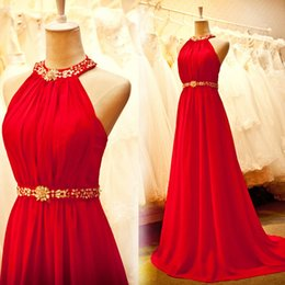 Barato Vestido De Baile De Finalista Vermelho Chiffon Longo-Cheap Red Prom Dress Long Formal Prom Dressess Beaded Halter sem mangas Cristal Pérolas Belt Chiffon Evening Party Vestido com trem de varredura