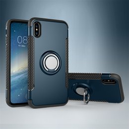 Silicone Phone Holder For Car Canada - Car Holder Case for iPhone xs max xr x 8 7 Plus 6 6s Plus Ring 360 Degree Kickstand Hybrid Shockproof Phone Cover for samsung note 8 9 s8 s9