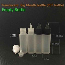 Discount large bottles e liquid - 15ml Big Mouth E Liquid Bottles PE Plastic Dropper Soft Empty Bottle Long Large Tips For Ejuice Eliquid Vape Juice E-Cig