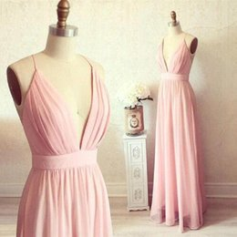 Barato Cintas De Vestido Rosa Claro-2017 Real Photo Bridesmaids Vestidos Light Pink Chiffon Deep V-neck Spaghetti Straps A linha Long Maid Of Honor Vestidos Vestido Longo Madrinha
