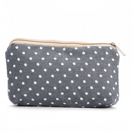 $enCountryForm.capitalKeyWord NZ - 100pcs 2017 New Cosmeitc Bag Women cotton and linen geometric pattern Make up bags Lady Candy Color Top zipper Coin Purse