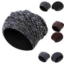 Street wear beanieS wholeSaler online shopping - Warm Winter hat outdoor warm cap sports winter Ski knitted hat Headgear Creative oblique striped acrylic knitted hat both sides can wear