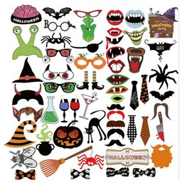 Discount children photo props - 2017 New Funny Masks Photo Booth Props with Lips Moustaches glasses and Sticks Party Halloween Decorations Prop Free Shi