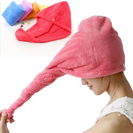 Super ShowerS online shopping - Microfiber Quick Dry Shower Hair Caps Magic Super Absorbent Dry Hair Towel Drying Turban Wrap Hat Spa Bathing Caps YW140