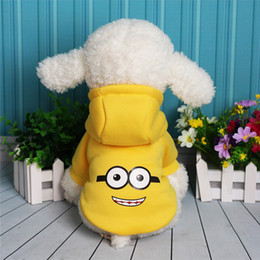 Clothes For Chihuahua Dogs Canada - Autumn Winter Cartoon Minions Botton Up Clothes Product Supply Two Legs Dog Coat for Small Dogs Chihuahua Costume Puppy Suit Pet Supplies