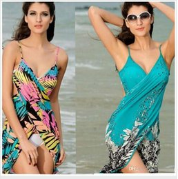 Wholesale sarong bikini dress for sale – plus size Bikini Swimwear Pareo Cover Up Sarong Beach Wrap Saida de praia women summer Beach Dress Cover Up Bikini Wrap Negril floral Sarong
