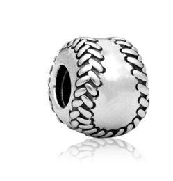 $enCountryForm.capitalKeyWord UK - Fits Pandora Bracelets 30pcs Baseball Silver Charm Bead Loose Beads For Wholesale Diy European Sterling Necklace Jewelry Women