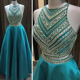 Model crop top sexy online shopping - Turquoise Teal Two Piece Prom Dress Jewel Crystal Beading Crop Top Modest Satin Evening Party Special Occasion Dresses Custom