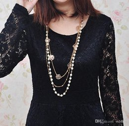 $enCountryForm.capitalKeyWord Australia - Boho Pearl Rose Sheet Womens Long Necklace Fashion Girl Dress Multilayer Flower Sweater Chain Collares Mujer