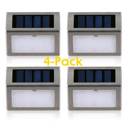 Wholesale 4 Pack 2 LED Solar Powered Wireless Stainless Steel Staircase  Step Wall Light For Garden Fixture Lighting Outdoor Wall Lamp