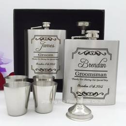 Gift Boxed Flasks NZ - 7 oz Groomsman gift of stainless steel hip flask with free funnel + 4 shot glass in black gift box