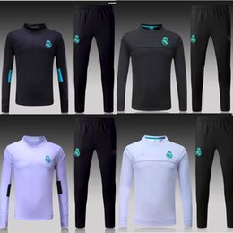 TOP THAI QUALITY new 16 17-18 Real Madrid men s soccer chandal white football  tracksuit 2017-2018 adult training suit skinny pants Sportswea ad88e3165411b