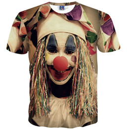 China Clown face T shirt Funny joker short sleeve gown Nice leisure tees Street printing clothing Unisex cotton Tshirt suppliers