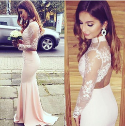 Discount satin keyhole back wedding dress - Blush Lace Stain Two Pieces Bridesmaid Dresses with Long Sleeves 2017 High Neck Keyhole Back Mermaid Wedding Party Guest