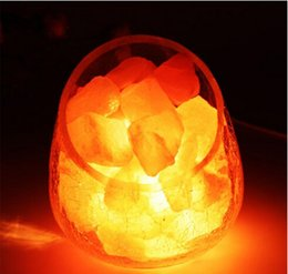 $enCountryForm.capitalKeyWord Canada - Himalayan Natural Crystal Salt table Lamp Mineral Rock Light dimmable Crackle glass egg ball lampshade Air Purification Therapy Mineral Rock