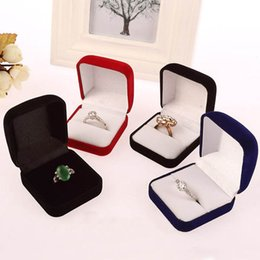 Wedding Display Cases Canada - Wholesale 4 Colors Engagement Velvet Ring Box Jewelry Display Storage Case For Wedding Ring Valentine's Day Gift Free Shipping