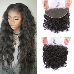 Discount virgin hair closure bleached knots - Lace Front Closure With Baby Hair Natural Color Virgin Peruvian Water Wave Lace Frontals Bleached Knots G-EASY