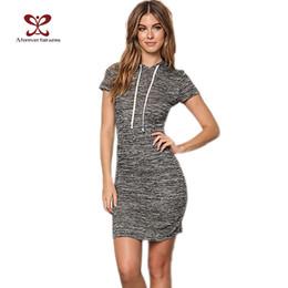 $enCountryForm.capitalKeyWord Canada - Wholesale- A Forever 2017 Summer Women Dress Vestidos Hoodies Casual Gray Dresses Short Sleeve Slim Sweatshirt Dress For Women Dress 1104