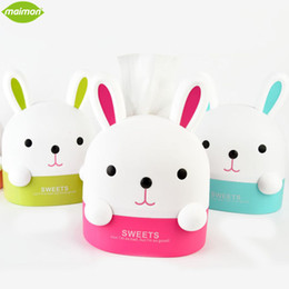 Lapin En Gros Pas Cher-Vente en gros - 1pcs Lovely Bunny Roll Paper Holder Rabbit Box de rangement Home Office Desktop Plastic Tissue Container Hanging Paper Organizer