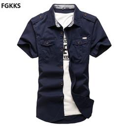 Discount fashion dressing style men shirt - Wholesale- 2016 High Quality Summer Style Dress Shirts Men Shirt Brand Clothing Cotton Slim Fit Homme Fashion Short Slee