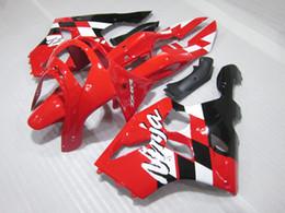Red White Kawasaki NZ - Free Customize fairings bodywork for Kawasaki ZX 6R 1994 1995 1996 1997 red white black NINJA zx6r 94-97 ABS fairing kit HK20