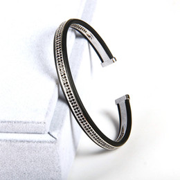 Raw beads online shopping - 1PCS High Grade Jewelry Open Cuff Sivler Bangles Men Women Double Raw Black Cz Beads Bracelets Best Bangle Cuff Bracelets For Men