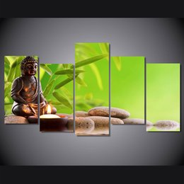 Buddhas Decor Canada - Home decor Modern picture 5 pieces Buddha Art Paintings on Canvas Hd printed Home room Wall decoration