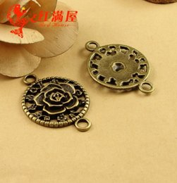 $enCountryForm.capitalKeyWord Australia - 32*46MM Antique Bronze Vintage Rose connector charms for bracelet, DIY accessories, flower charm connector for jewelry making