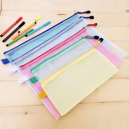 pocket pc free Canada - 10 pcs lot Gridding Waterproof Zip Bag Document Pen Filing Products Pocket Folder Free shipping Office & School Supplies