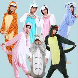2017 halloween costumes Wholesale Animal Stitch Unicorn Panda Bear Koala Pikachu Onesie Adult Unisex Cosplay Costume Pajamas Sleepwear For Men Women