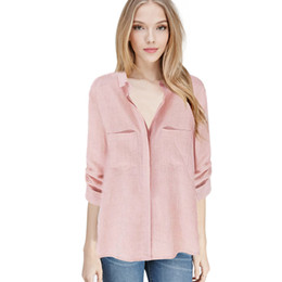 womens loose linen shirt Canada - Wholesale free shipping Plus Size S-XXL New Fashion Womens Loose Casual Linen Buttons Long Sleeve Turn-down Collar Shirt Tops Solid Blouse H