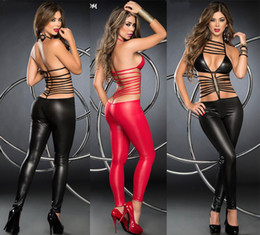 Lingerie Catsuit Catwoman Pas Cher-Exotique Sexy Lingerie en PVC brillant Catsuit Catwoman Ladies Stripper clubwear party Fancy Dress b403