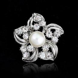 Pins Big Canada - Silver Tone Big Pearl Flower Brooch Clear Rhinestone Crystal Flower Bridal Jewelry Small Brooches Pins Prom Party Gift Wedding Cosrage