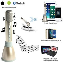 Microphone For Recording Phones Canada - 2017 K068 Wireless Karaoke Player Condenser Microphone with Mic bluetooth Speaker KTV Singing Record for Android IOS Phone Computer PK Q7 Q9