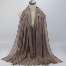Linen scarves musLim online shopping - Fashion Bubble Plain Scarf cotton Scarves Fringes Women Soft Solid Hijabs Popular Muffler Shawls Big Pashmina Muslim Wrap Hijab