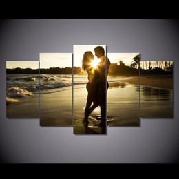 7e725c6a282 5 Pcs Set Framed HD Printed Sunset Beach couple Painting Canvas Print room  decor print poster picture canvas Free shipping ny-6328