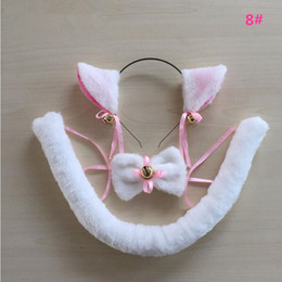 Ensemble De Queue D'oreille De Chat Pas Cher-Femmes Filles Housemaid Chat Peluche Oreilles Headband Bowtie Headwear Neckwear Wristband Tail Maid Anime Cosplay Costume Set