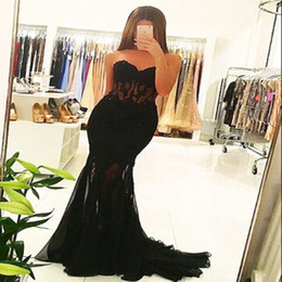 Barato Roupões Sexy De Chiffon Preto-Vestidos Longo Sexy Black Lace Prom Dresses Mermaid Sweetheart Court Train Party Vestidos Robe De Soiree Dubai