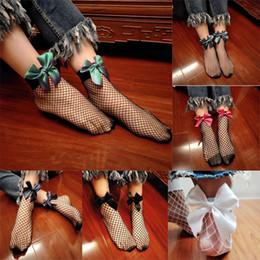 Womens High Socks Canada - Fashion Mesh Ankle Short Socks Bowknot Fishnet Lace Womens Girls Cute Lace Short Socks Ruffle Ankle High Sock 50pairs 2C48