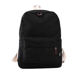 Hot School Bags Canada - Wholesale- Hot Sale New Fashion Women Canvas Backpacks Simple Student School Bags For Girl Casual Solid Color Travel Bag Gift Free Shipping