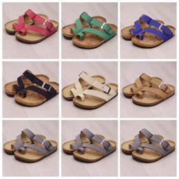 Kids Summer Flip Flop Wholesale Canada - Kids Flip-flops Sandals Brand Cork Sandles Beach Antiskid Slippers PU Leather Slipper Cool Slippers Fashion Summer Sandalias Footwear B1940